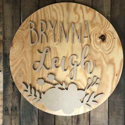 Unfinished Nursery Circle Girl Nursery Name Sign Child Decor