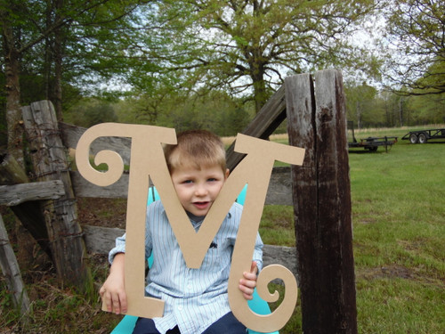 Cheap Wooden Letters for Nursery (M) Curlz Large Wood Letter Wood