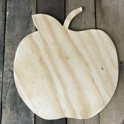 Wooden Pine Cutout, Apple, Unfinished Wood Shape, DIY Craft