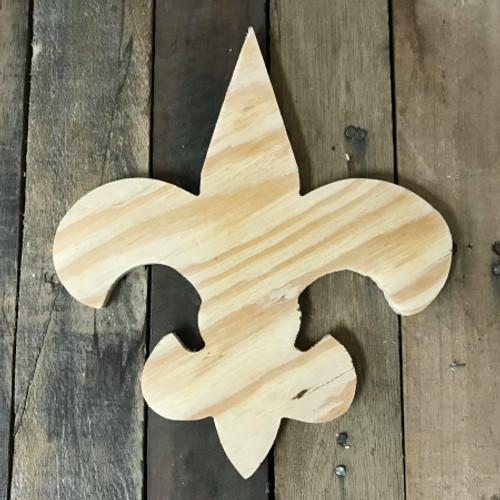 Wood Pine Cutout, Fleur De Lis, Unfinished Wood Shape, DIY Craft
