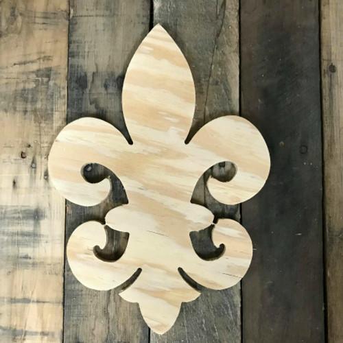 Wooden Pine Cutout, Fancy Fleur De Lis, Unfinished Wood Shape