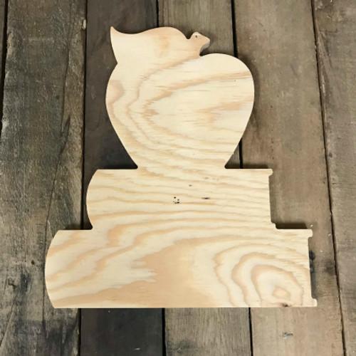 Wood Pine Shape, Apple on Books, Unpainted Wood Cutout Craft