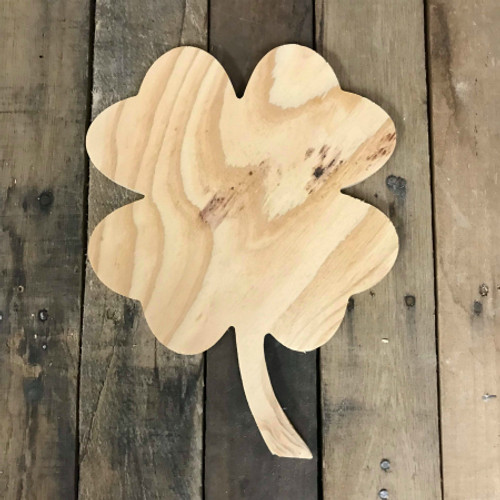 Wood Pine Shape, 4 Leaf Clover, Unpainted Wood Cutout