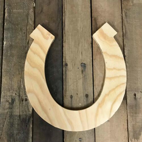 Wood Pine Shape, Horse Shoe, Unpainted Wooden Cutout