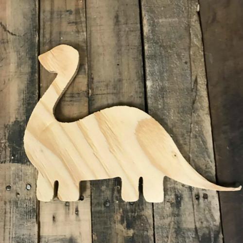 Wood Pine Shape, Dinosaur, Unpainted Wooden Cutout