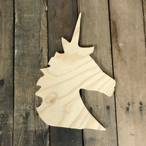Wood Pine Shape, Unicorn Head, Unpainted Wooden Cutout
