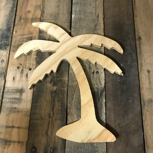 Wood Pine Shape, Palm Tree, Unpainted Wooden Cutout DIY