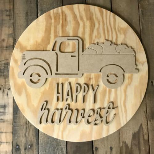 Happy Harvest, Unfinished Pine Circle Pumpkin Door Hanger