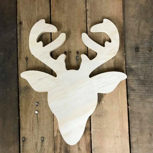 Wood Pine Shape, Reindeer Head, Unpainted Wooden Cutout DIY