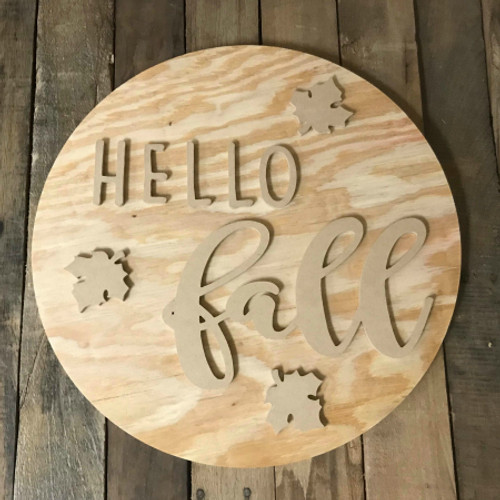 HELLO Fall, Unfinished Pine Circle Fall Door Hanger