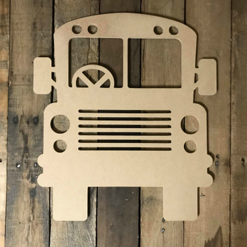 School Bus with Steering Unfinished Wood Shape, DIY, Shapes Cut out