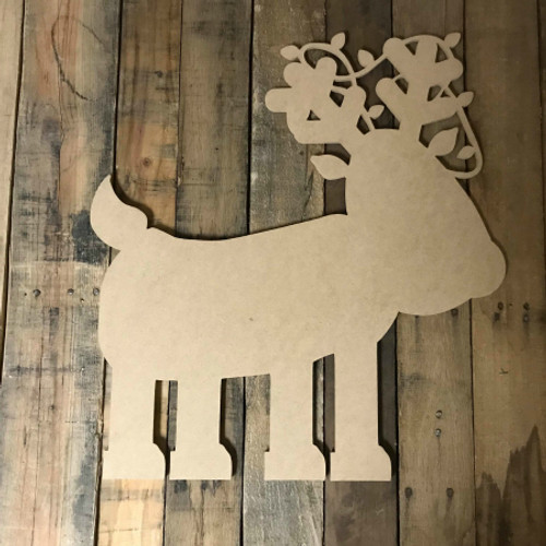 Reindeer with Lights on Antlers,  Unfinished Christmas Shape
