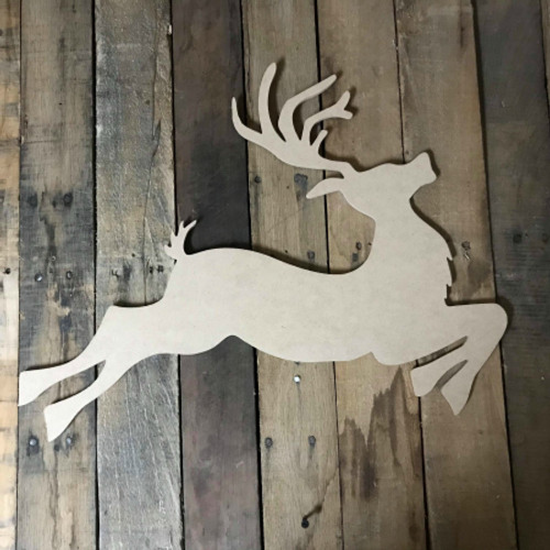 Reindeer Jumping 2, Unfinished Wood Shape, Christmas Cutout