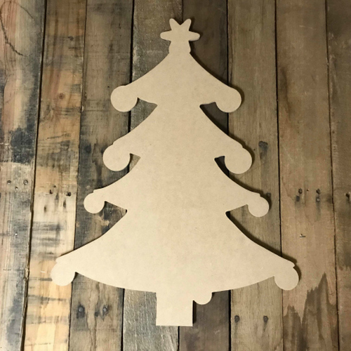 Christmas Tree with Ornaments, Unfinished Wood Shape, Holiday Cutout