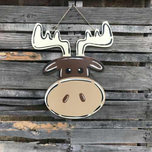 Moose with Big Nose, Painted Wooden MDF Christmas Cutout