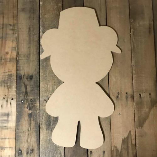 Pilgrim Bear ,  Craft Unfinished Wood Shape, Fall Wood Cutout