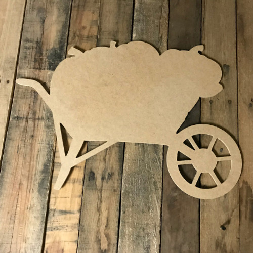Wheelbarrow with Pumpkins, Unfinished Wood Shape, Wood Cutout