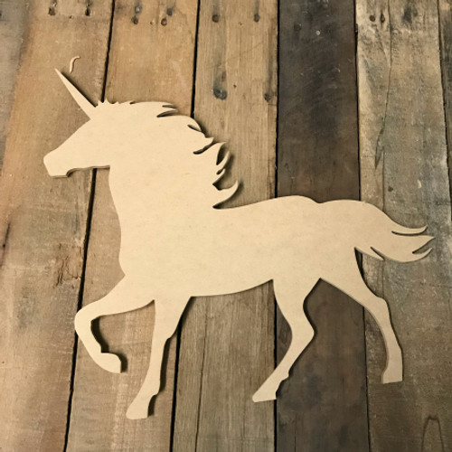 Wood Unicorn Cutout, Wooden Unicorn Paintable Shape