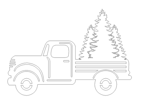Truck with Three Tree's Cutout Unfinished Wooden Cutout Craft