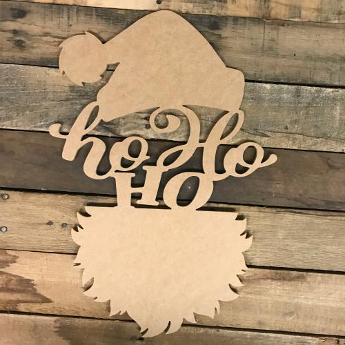 Ho Ho Ho Santa Head Wood DIY (MDF) Cutout - Unfinished DIY Craft