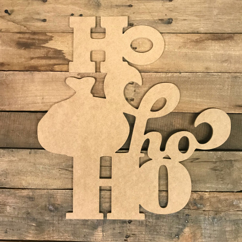 Ho Ho Ho Wood DIY (MDF) Cutout - Unfinished DIY Craft