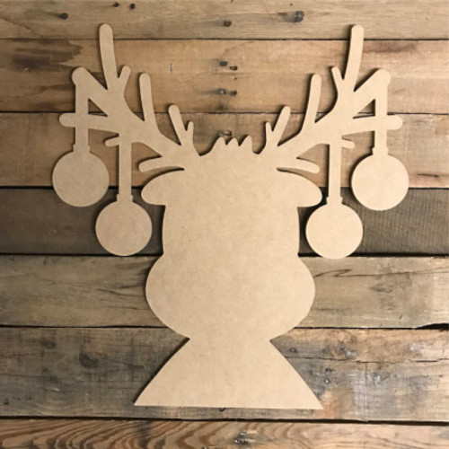 Reindeer with Ornaments, Unfinished Christmas Shape, DIY Wood Craft