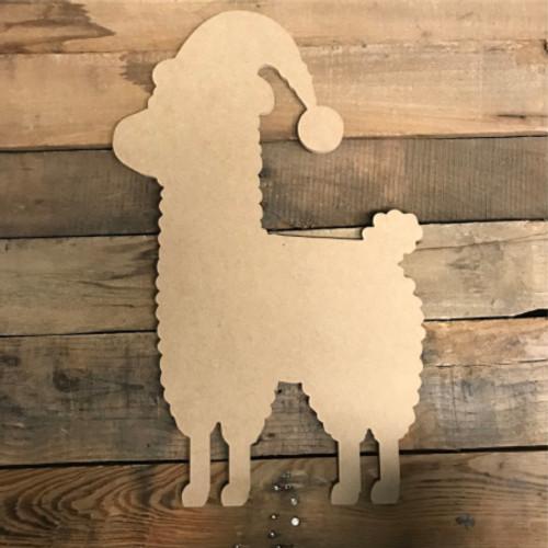 Llama With Christmas Hat, Unfinished Cutout, Craft Wood Shape