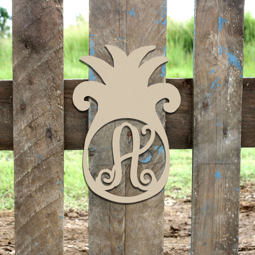 Pineapple Frame Monogram Letter Wooden Unfinished Diy