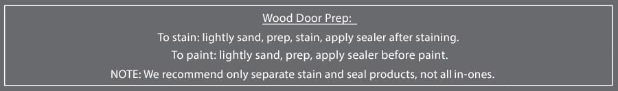 Stain and Paint Door Prep Notice