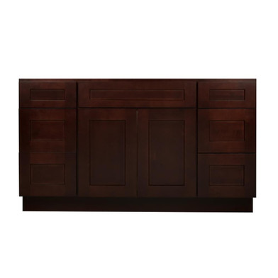 Mocha shaker wood vanity sink and 6 drawer base 60 - Unfinished shaker bathroom vanity ...