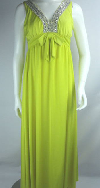 Vintage 1960s Vibrant Yellow Beaded Empire Waist Evening Gown