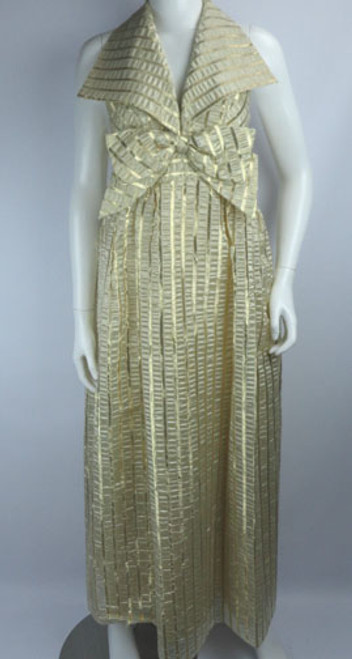 Vintage 1960s Metallic Gold Lamé Bow Halter-Style Gown