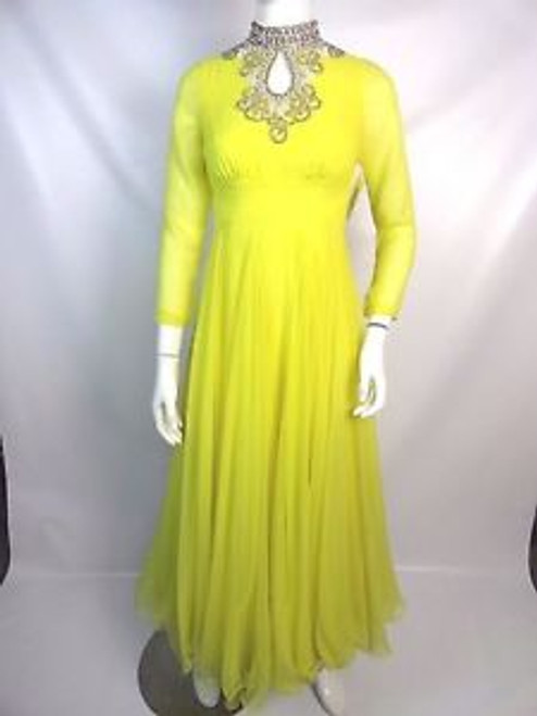 Vintage 70's Lillie Rubin Yellow Chiffon Gown w/ Beaded Neck Detail