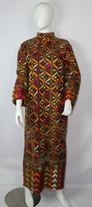 Vintage 1960s Heavily Embroidered Cotton Burlap Tribal Caftan