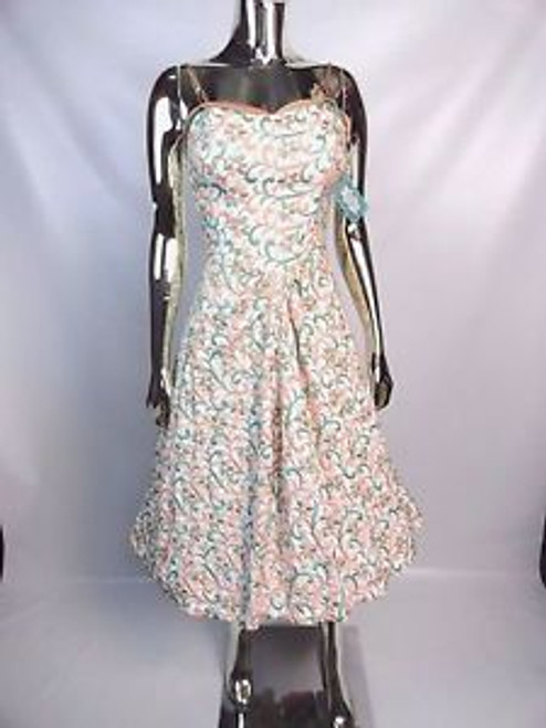Vintage 50's Fully Embroidered Dress w/ Paneled Back SOLD