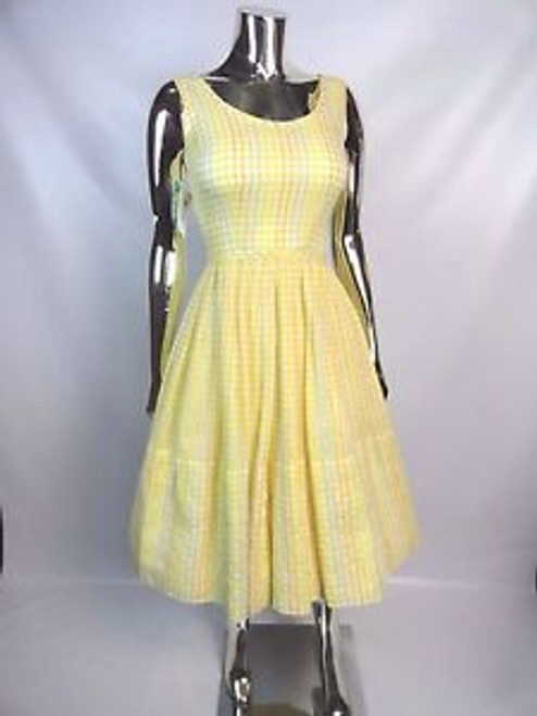Vintage 50's Yellow and Orange Grid Embroidered Dress SOLD