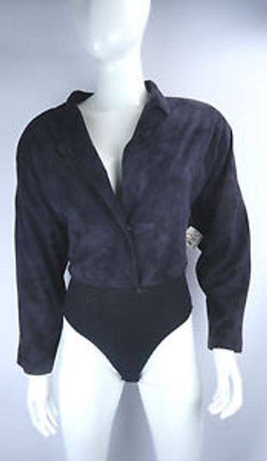 Vintage 1980's Donna Karan Black Suede and Knit Jumper