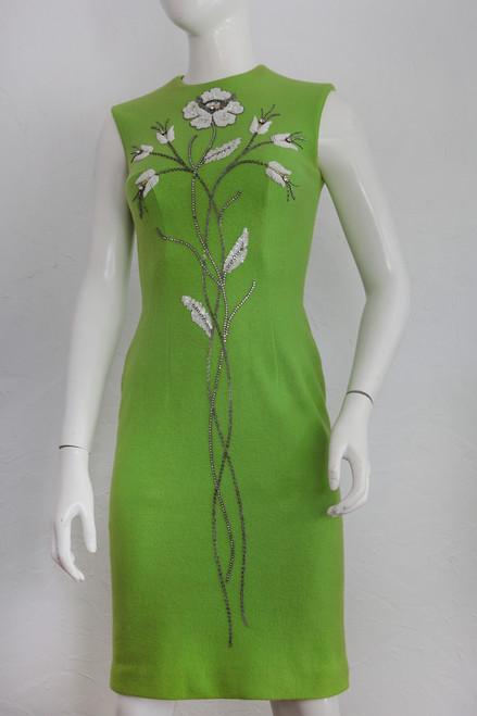 """Mr. Blackwell"" Lime Green w/ Bead & Rhinestone Flower Detail Sleeveless Dress"