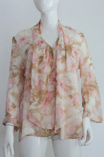 "90's ""Escada"" Sheer Floral Cheetah Print Blouse"