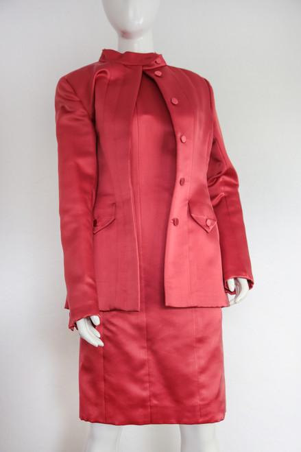 """80's """"Oscar de La Renta"""" Satin 2Pc Dress & Jacket"""