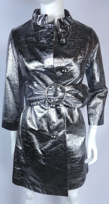 Vintage 1970s Silver Metallic Swing Coat