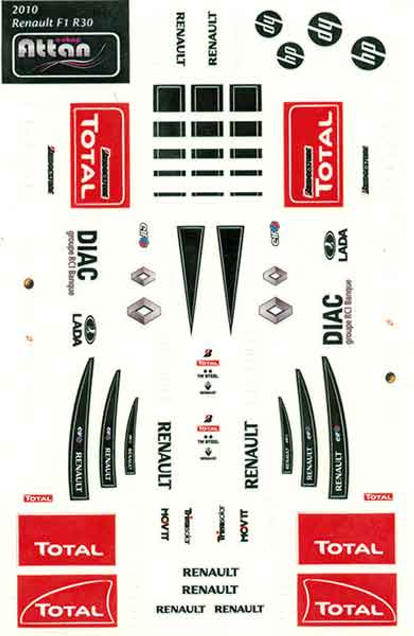 Attan Renault F1 Sticker Sheet - ATT-RF1
