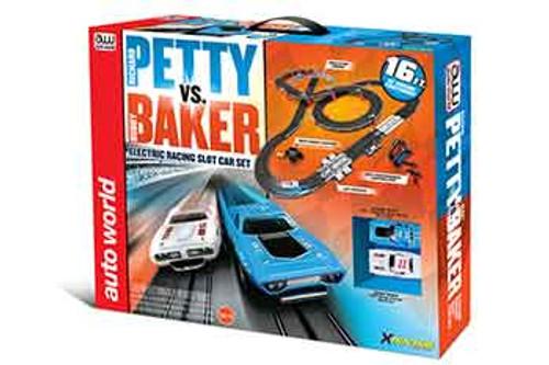 HO Scale Autoworld Petty vs Baker Stock Car Race Set - AW-SRS281