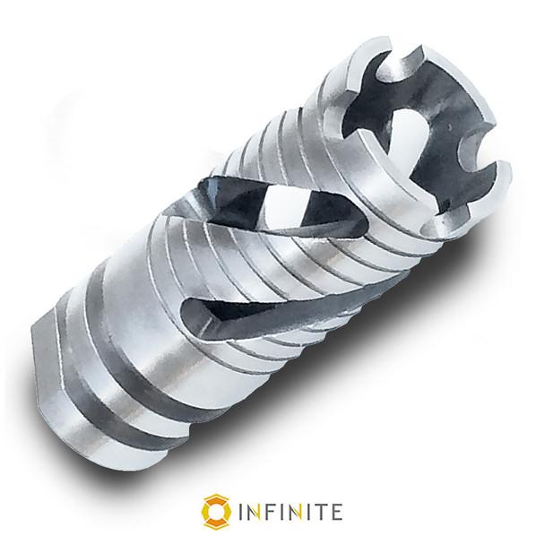 14mm x 1 LH Spiral Phantom Muzzle Brake - Stainless Steel