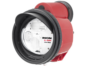 ●Dome Lens delivers UNDERWATER coverage 110 degree without sacrificing power   Guide Number( 20) . Precisely designed front dome lens (※1) together with INON's unique「T-shape twin flash」widens powerful strobe light without sacrifice any power to accomplish UNDERWATER coverage circular 110 degree.