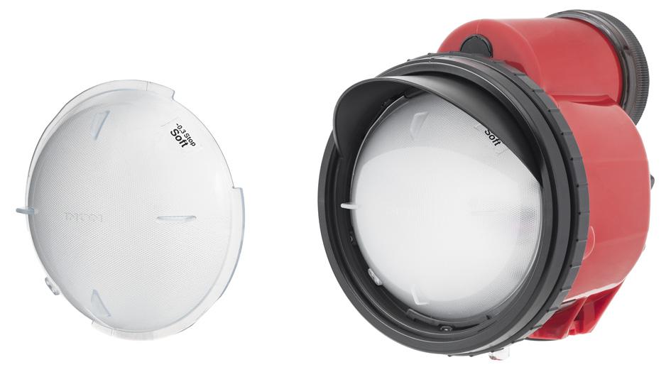 Left: Bundled Strobe Dome Filter SOFT. Right:The Strobe Dome Filter SOFT installed on the D-200.