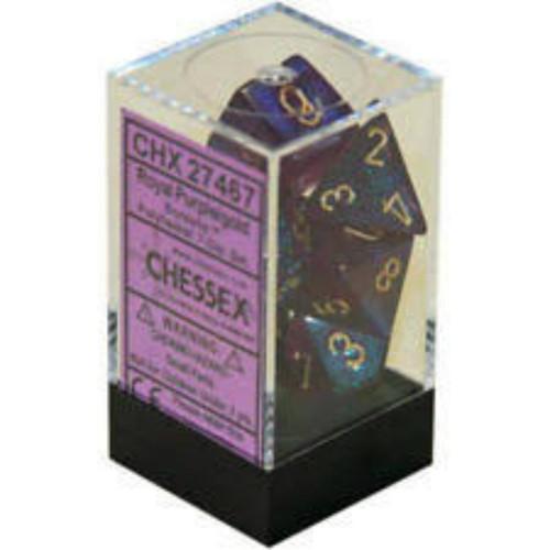 Chessex Borealis #2 Royal Purple w/Gold Set of 7 Dice (CHX27467)