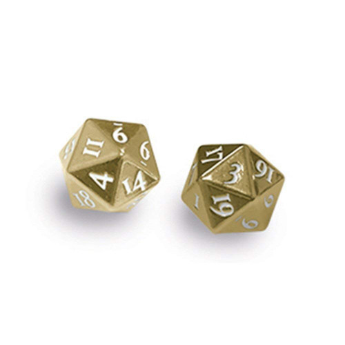 Ultra Pro: Heavy Metal D20 2 Dice Set - Gold with White Numbers