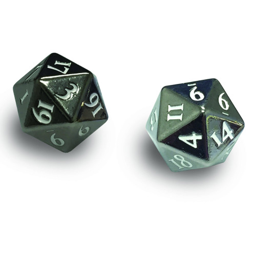 Ultra Pro: Heavy Metal D20 2 Dice Set - Gun Metal with White Numbers