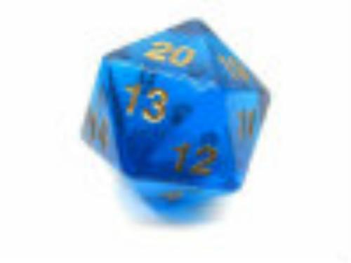 Koplow Games: Jumbo 55mm Transparent D20 Die (Blue/Gold)
